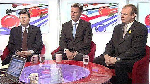Douglas Alexander, Jeremy Hunt and Ed Davey