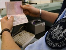 Immigration officer checking passport
