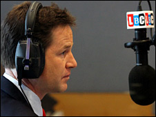 Nick Clegg does a radio interview