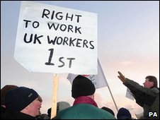 Placard calling for UK workers to get jobs ahead of foreigners