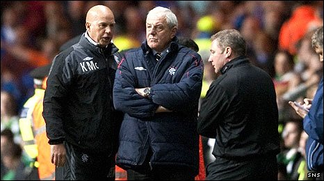 Walter Smith (centre) with assistants Kenny McDowall and Ally McCoist