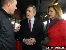 Gordon Brown and wife Sarah visiting Yorkshire Produce Market on Wednesday morning