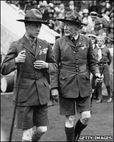 Lord Baden Powell, right, with the then Prince of Wales in 1927