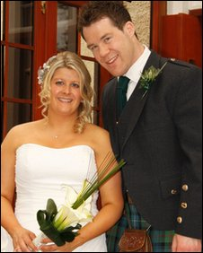 Keir and Lee Dow on their wedding day