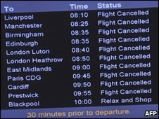 Departure board showing cancellations at Belfast airport
