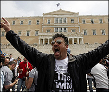 Protester outside the Greek parliament
