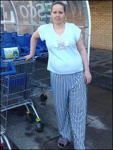 Tesco shopper in pyjamas