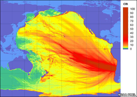 Forecast amplitudes for the Chilean earthquake tsunami (Noaa)