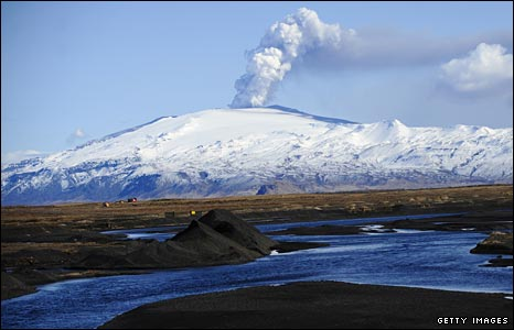 Smoke billows from the Eyjafjallajökull volcano in Iceland