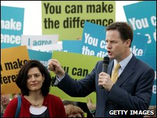 Nick Clegg and his wife Miriam in Eastbourne