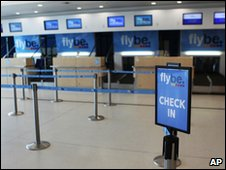 Check-in desks are deserted at George Best Belfast City Airport on Wednesday 5 May 2010