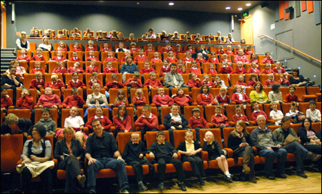 Pupils at the premiere of their short film at the Scala cinema