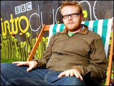 Huw Stephens on a deckchair