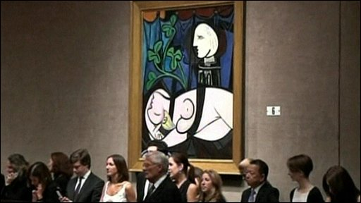 The auction room where a Picasso painting sold for a record $95m, before Christie's commission.