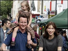 David and Samantha Cameron with children