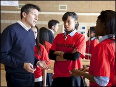 Lord Coe speaking to schoolchildren in Haringey