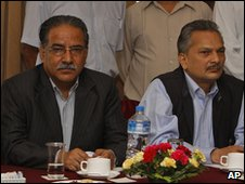 Communist Party of Nepal (Maoist) leader Pushpa Kamal Dahal (L),  Baburam Bhattarai, (L)