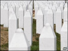 Grave stones of Srebrenica victims
