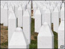 Grave stones of Srebrenica victims