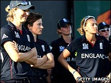 England team with Charlotte Edwards on the left