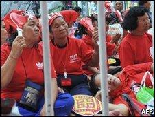Red-shirt protesters in Bangkok on 6 May 2010