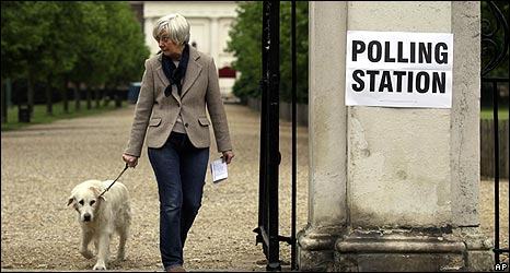 Woman emerges from polling station