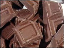 squares of milk chocolate