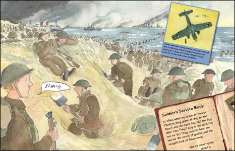 A drawing of the Dunkirk evacuation