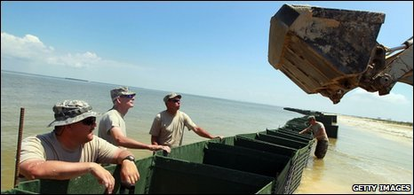 Alabama National Guard members in Dauphin Island, Alabama