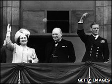 King and Queen and Prime Minister Winston Churchill on the balcony of Buckingham Palace