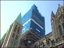 Scaffolding around Truro Cathedral spire