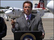 Schwarzenegger at a press conference