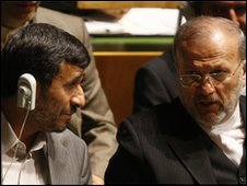 President Ahmadinejad (L)and Foreign Minister Manouchehr Mottaki at a UN conference in New York on 3 May
