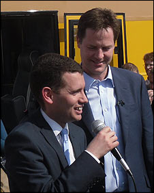 Liberal Democrat candidate Simon Wright and his leader Nick Clegg