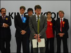 Chris Skidmore delivers his victory speech in Kingswood