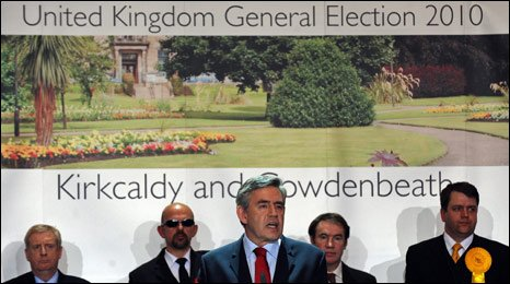 Gordon Brown speaking after holding his seat