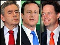 Gordon Brown, David Cameron and Nck Clegg on election night