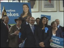 Caroline Nokes with her supporters after winning Romsey and Southampton North