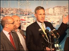 Labour's Jim Knight (far left) loses to the Tories' Richard Drax in Dorset South