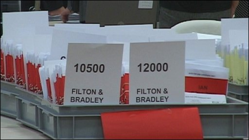 Counted ballot papers in Filton and Bradley Stoke