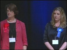 Sara McCarthy-Fry (l) and the Conservatives' Penny Mordaunt