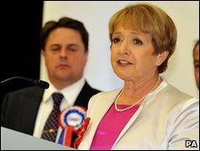 Labour MP Margaret Hodge uses her victory speech to attack the BNP leader Nick Griffin (second left),