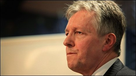 "Northern Ireland""s First Minister Peter Robinson reacts after losing his Belfast East seat to Naomi Long"