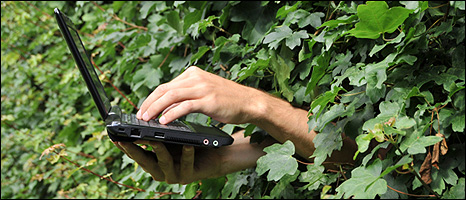 Man using laptop in a hedge