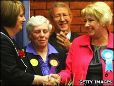 Jacqui Smith and Karen Lumley in Redditch