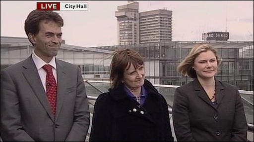 Tom Brake (Liberal Democrats), Tessa Jowell (Labour) and Justine Greening (Conservative).