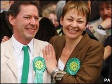 Caroline Lucas and husband Richard Savage