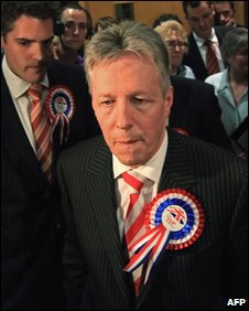 Defeat: Peter Robinson at the east Belfast count