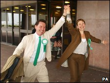 Richard Savage and Caroline Lucas