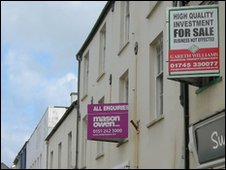 For sale and to let signs line the street at Holyhead